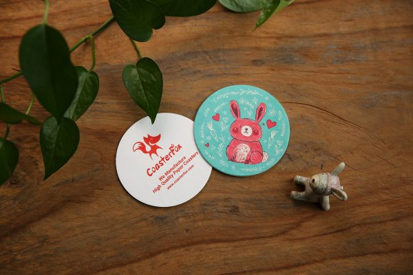 Red Bunny Pulp Board Coasters in Circle Shape