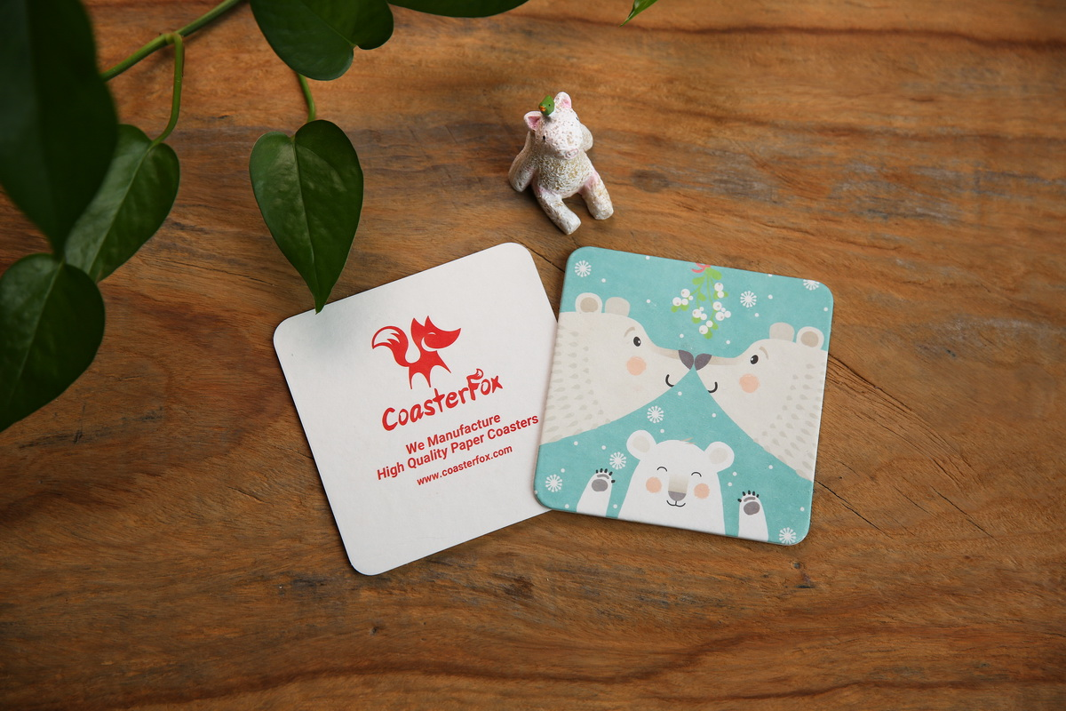 Polar Bear Pulp Board Coasters in Square Shape