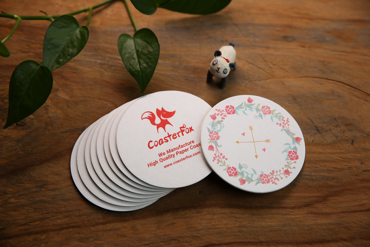 Floral Pulp Board Coasters in Circle Shape
