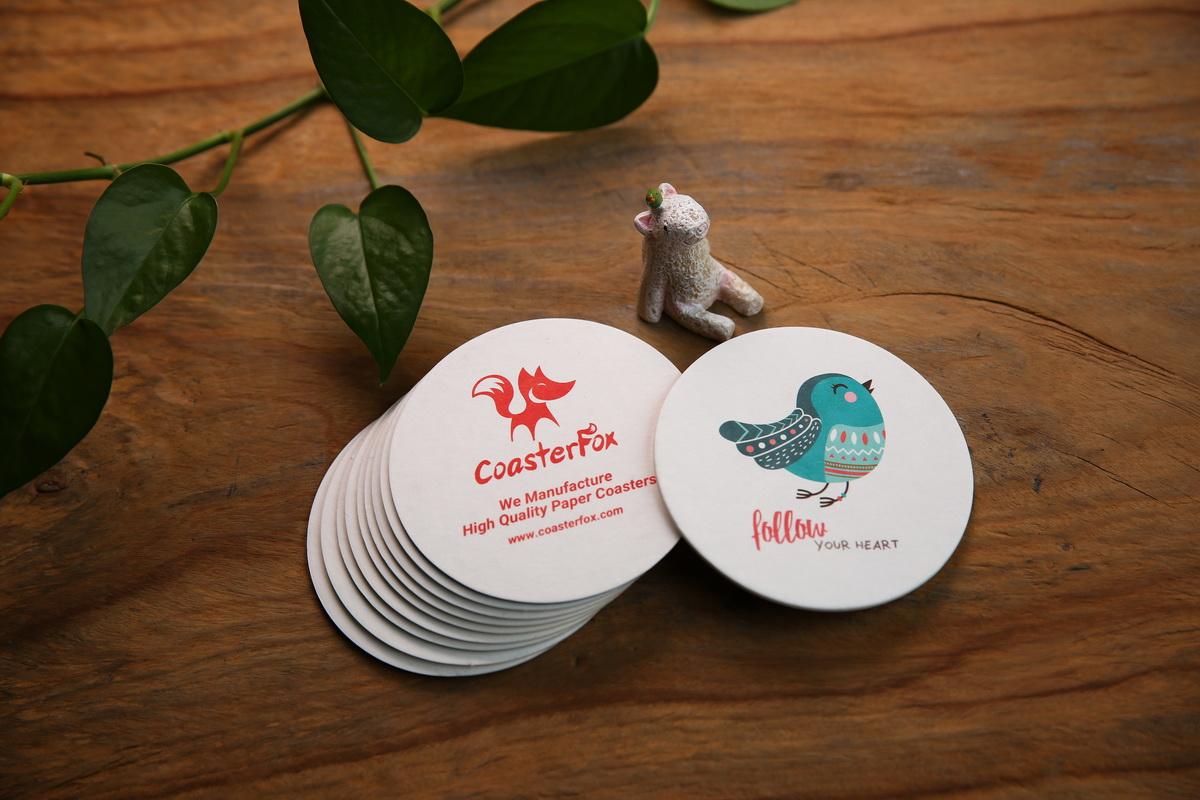 Bird Pulp Board Coasters in Circle Shape