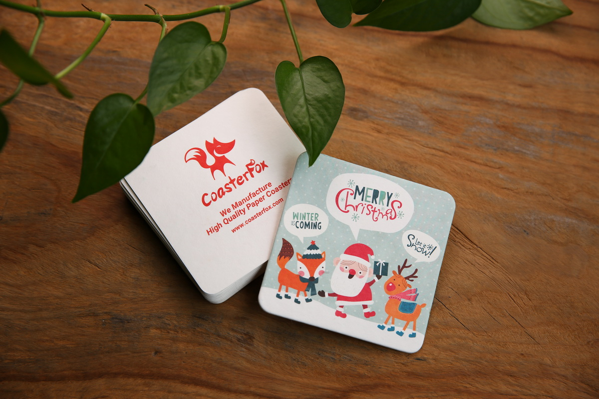 Merry Christmas Pulp Board Coasters in Square Shape