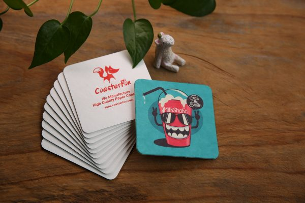 Funny Pulp Board Coasters in Square Shape