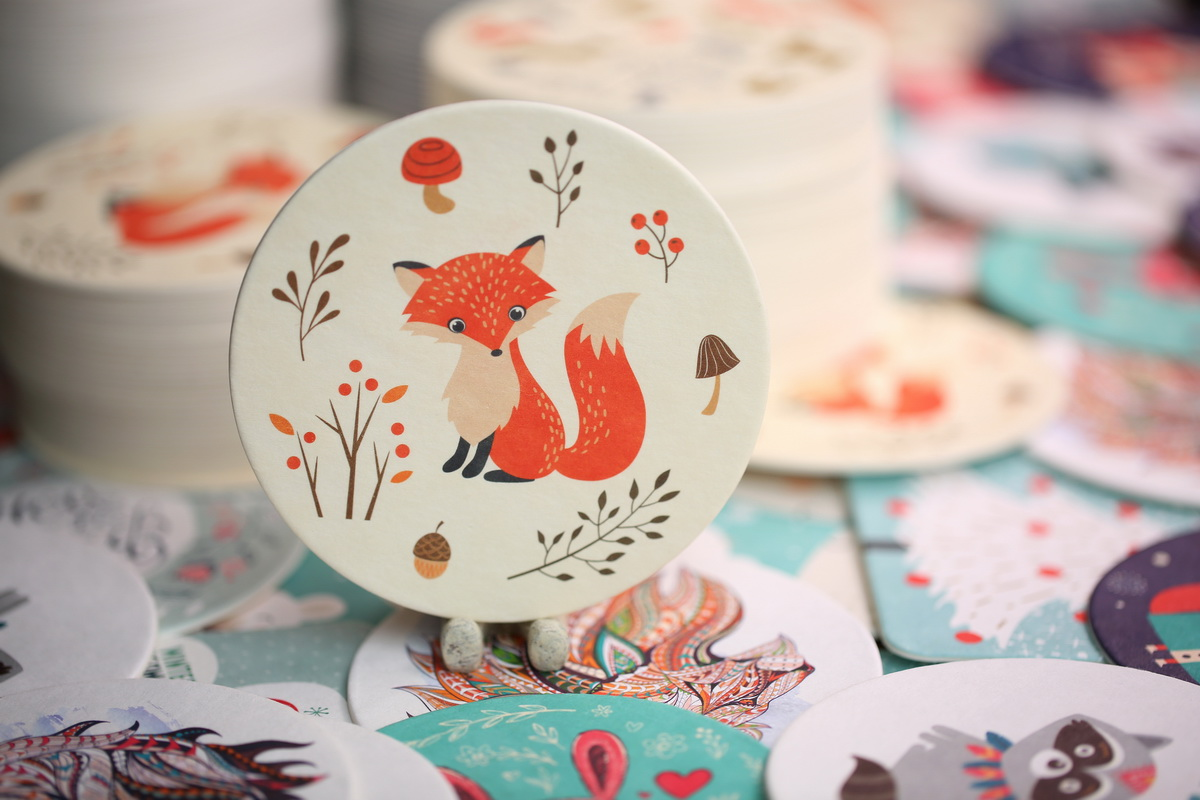 Fox Pulp Board Coasters in Circle Shape